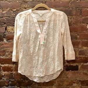 REBECCA TAYLOR SILK EMBROIDERED IVORY TOP SIZE 2
